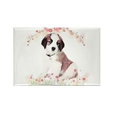 Saint Bernard Flowers Rectangle Magnet (100 pack)