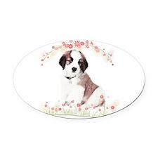 Saint Bernard Flowers Oval Car Magnet