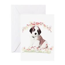 Saint Bernard Flowers Greeting Card