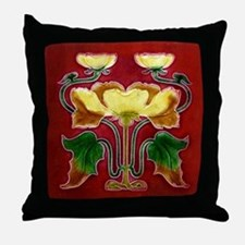 Throw Pillow with Autumn flowers and leaves