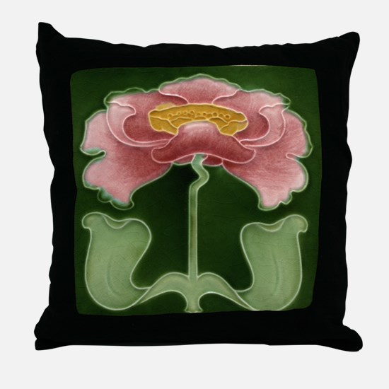 Throw Pillow with Art Nouveau pink peony