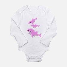 Pink Dolphins Long Sleeve Infant Bodysuit