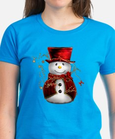 Cute Snowman in Red Velvet Tee