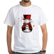 Cute Snowman in Red Velvet Shirt