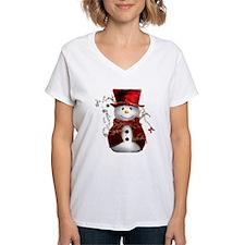Cute Snowman in Red Velvet Shirt