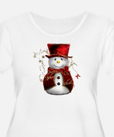 Cute Snowman in Red Velvet T-Shirt