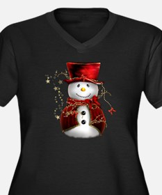 Cute Snowman in Red Velvet Women's Plus Size V-Nec