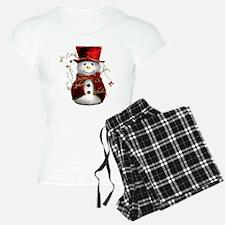 Cute Snowman in Red Velvet Pajamas
