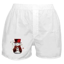 Cute Snowman in Red Velvet Boxer Shorts