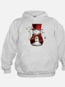 Cute Snowman in Red Velvet Hoodie