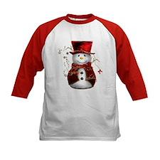 Cute Snowman in Red Velvet Tee