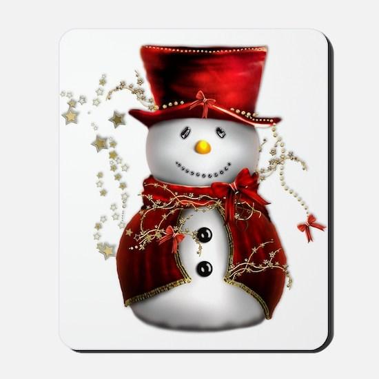 Cute Snowman in Red Velvet Mousepad