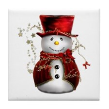 Cute Snowman in Red Velvet Tile Coaster