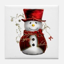 Cute Snowman in Red Velvet Tile Coaster