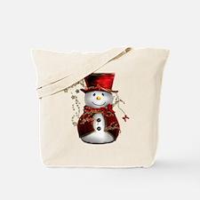 Cute Snowman in Red Velvet Tote Bag