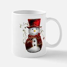 Cute Snowman in Red Velvet Mug