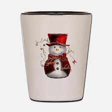Cute Snowman in Red Velvet Shot Glass