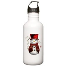 Cute Snowman in Red Velvet Water Bottle