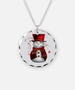 Cute Snowman in Red Velvet Necklace