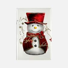 Cute Snowman in Red Velvet Rectangle Magnet (10 pa