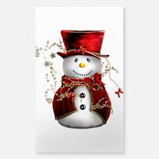 Cute Snowman in Red Velvet Sticker (Rectangle)