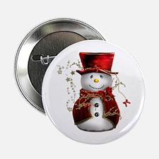 "Cute Snowman in Red Velvet 2.25"" Button (100 pack)"