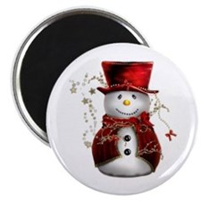 "Cute Snowman in Red Velvet 2.25"" Magnet (10 pack)"