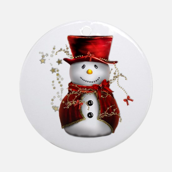 Cute Snowman in Red Velvet Ornament (Round)