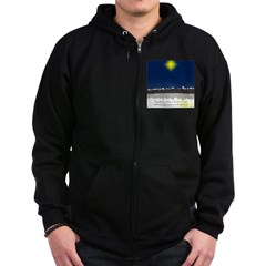 Christmas Star on Snowy Night Zip Hoodie