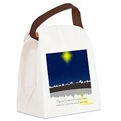 Christmas Star on Snowy Night Canvas Lunch Bag