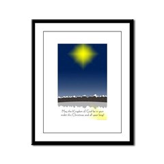Christmas Star on Snowy Night Framed Panel Print