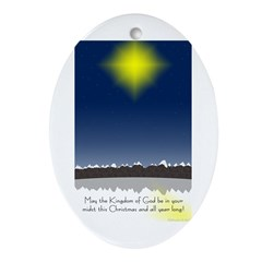 Christmas Star on Snowy Night Ornament (Oval)
