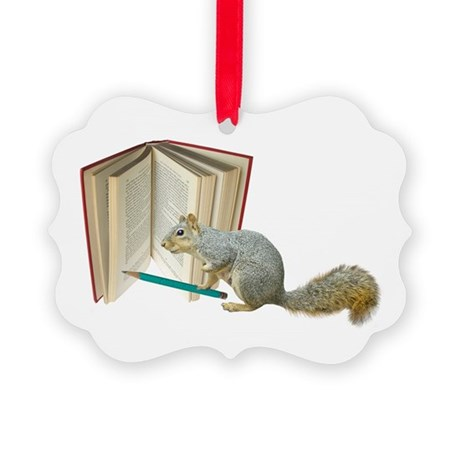 Squirrel Pencil Book Picture Ornament