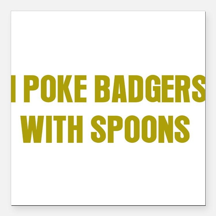 "Poke Badgers Square Car Magnet 3"" x 3"""