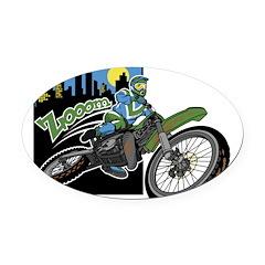 Biker Zooom Oval Car Magnet