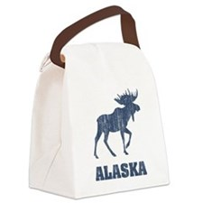 Retro Alaska Moose Canvas Lunch Bag
