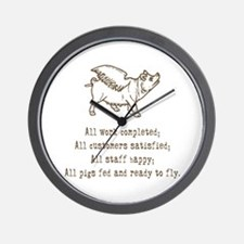 pigs ready to fly Wall Clock