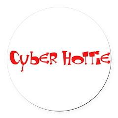 Cyber Hottie Round Car Magnet