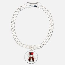 Cute Snowman in Red Velvet Bracelet