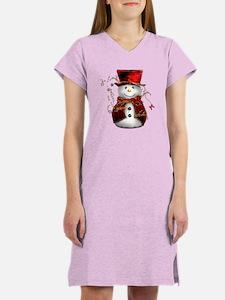 Cute Snowman in Red Velvet Women's Nightshirt