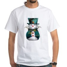 Cute Snowman in Green Velvet Shirt