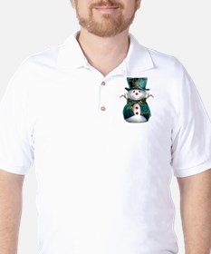 Cute Snowman in Green Velvet T-Shirt