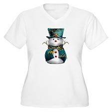Cute Snowman in Green Velvet T-Shirt
