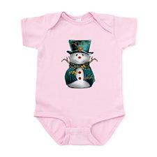 Cute Snowman in Green Velvet Infant Bodysuit