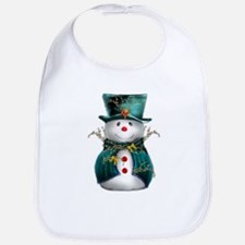 Cute Snowman in Green Velvet Bib