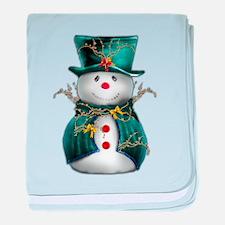 Cute Snowman in Green Velvet baby blanket