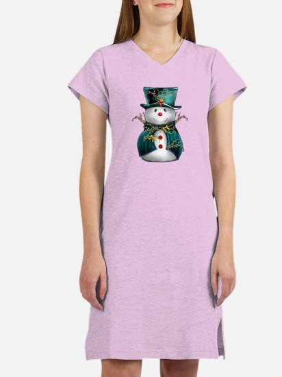 Cute Snowman in Green Velvet Women's Nightshirt
