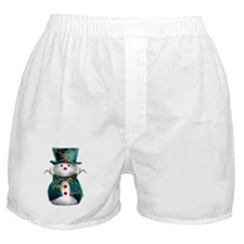 Cute Snowman in Green Velvet Boxer Shorts