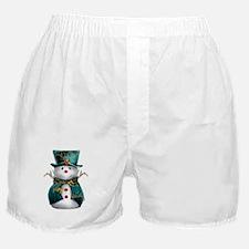 Cute Snowman in Green Velvet Boxer Shorts