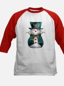 Cute Snowman in Green Velvet Kids Baseball Jersey